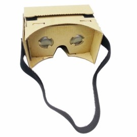 "DIY Cardboard Magnetic Sensor Virtual Reality VR Glasses with Head Strap for 4-6"" Smartphone Khaki"