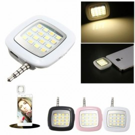 3.5mm Jack Smart Selfie 16-LED Mini Camera Flash Light for iOS Android White