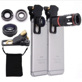 4-in-1 Clip On Camera Telescope Macro Telephoto 180-Degree Wide-angle Fisheye Lens Black