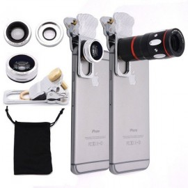 4-in-1 Zoom Wide-angle Fisheye Lens Clamp Camera Lens Telescope Macro Telephoto Silver