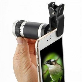 8x18 Optical Zoom Clip Mini Monocular Telescope Lens High Power for Smartphone