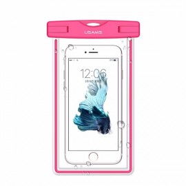 USAMS IPX8 Waterproof Case Touch Screen Luminous Transparent Window Dry Bag for Cellphone Under 6 Inch Pink