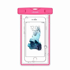USAMS IPX8 Waterproof Case Touch Screen Luminous Transparent Window Dry Bag for Cellphone 5.5 inch Rose Red