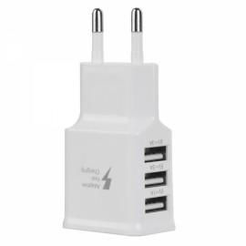 Universal 5V 3A 3-Port USB AC Charger w/ EU Plug White (100~240V)
