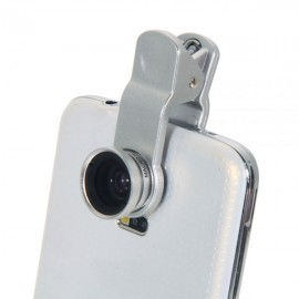 LQ-001 All-purpose 3 in 1 Wide Angle + Microspur + Fisheye Lens Silver