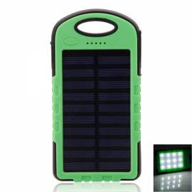 8000mAh Outdoor Solar Mobile Power Bank Triple-proof w/ 12-LED Green