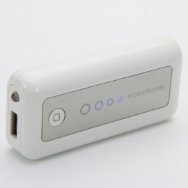 3000mAh Mobile Power Bank with LED Light White