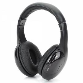 5-in-1 Wireless Headphones Headset Cordless Earphone for MP3 PC TV Black