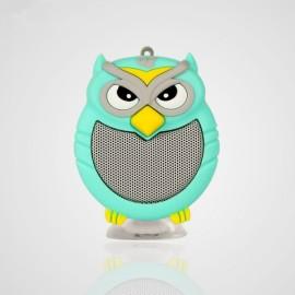 Owl Shaped Mini Bluetooth Speaker Stereo Heavy Bass Outdoor Loudspeaker with Sucker Phone Holder Light Green
