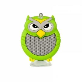 Owl Shaped Mini Bluetooth Speaker Stereo Heavy Bass Outdoor Loudspeaker with Sucker Phone Holder Green