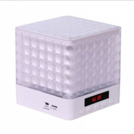 New Mini Cube Square LED Light Bluetooth Wireless Speaker Woofer Radio FM Handfree Portable Enceinte Bluetooth Portable Puissant White