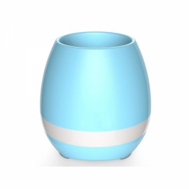 Smart USB Charge Bluetooth Music Flowerpot Electrostatic Induction Night Light Flower Pot Blue