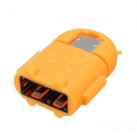 Robot Design Micro USB to USB 2.0 Host OTG Adapter Converter for Tablet Cellphone Orange