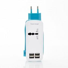 Universal 4 USB Ports 4A International Socket Travel Charger Socket EU Plug Blue
