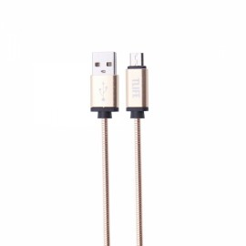 TLIFE 1M Micro USB Charger Data Sync Cable Stainless Steel for Android Devices Golden