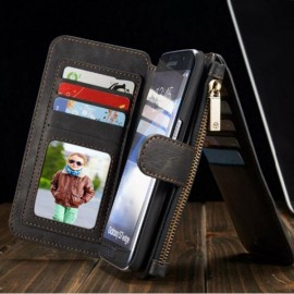 PU Leather Case Magnetic Flip Wallet Cover for Samsung Galaxy S7 Black