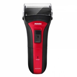 POVOS PS2203 Wet/Dry Full Washable Single Head Rechargeable Men's Electric Shaver Razor with Pop-up Trimmer Red & Black