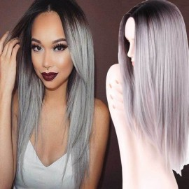 Ohyes Long Straight Hair Brown To Grey Ombre Wig Heat Resistant Fiber Synthetic Cosplay Wig