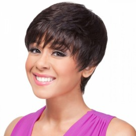 "6"" Virgin Remy Human Hair Full Net Cap Woman Short Straight Hair Wig with Bang Natural Black"