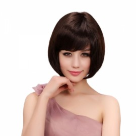 "12"" New Straight Women Remy Human Hair Wig Deep Brown Color MJ33"