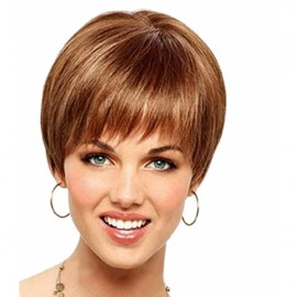 "6"" Woman Short Curly Remy Human Hair Wig with Bang Golden Brown pfwm87"