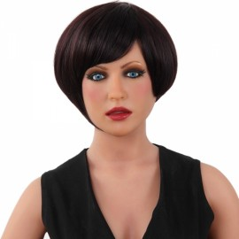"7"" Virgin Remy Human Hair Full Net Cap Woman Short Straight Hair Wig with Bang Dark Brown"