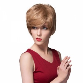 "6"" Virgin Remy Human Hair Full Net Cap Woman Short Straight Hair Wig with Bang Linen"