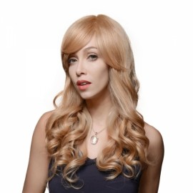 "23"" Virgin Remy Human Hair Full Net Cap Woman Long Curly Hair Wig with Bang Linen Yellow"