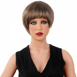 "7"" Virgin Remy Human Hair Full Net Cap Woman Short Straight Hair Wig with Bang Grey Brown"