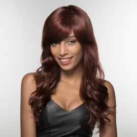 "23"" Virgin Remy Human Hair Full Net Cap Woman Long Curly Hair Wig with Bang Linen"