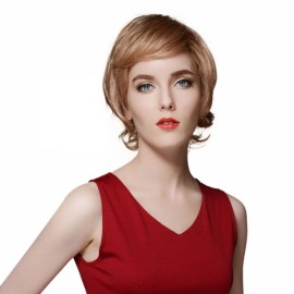 "6"" Virgin Remy Human Hair Full Net Cap Woman Short Curly Hair Wig with Bang Linen"