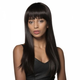 "23"" Virgin Remy Human Hair Full Net Cap Woman Long Straight Hair Wig with Bang Natural Black"