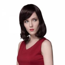 "13"" Virgin Remy Human Hair Full Net Cap Woman Medium Length Curly Hair Wig with Bang Dark Brown"