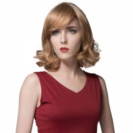 "12"" Virgin Remy Human Hair Full Net Cap Woman Short Curly Hair Wig with Bang Linen"