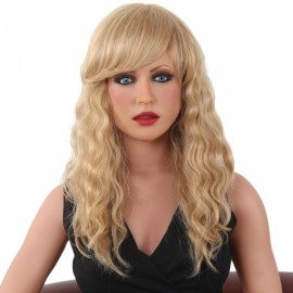 "22"" Virgin Remy Human Hair Full Net Cap Woman Long Curly Hair Wig with Bang Flax Yellow"