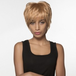 "7"" Virgin Remy Human Hair Full Net Cap Woman Short Straight Hair Wig with Bang Light Golden"