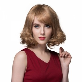"9"" Virgin Remy Human Hair Full Net Cap Woman Short Curly Hair Wig with Bang Linen"