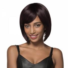 "10"" Virgin Remy Human Hair Full Net Cap Woman Short Bobo Hair Wig with Bang Dark Brown"