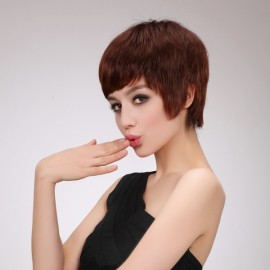 """8"""" New Straight Women Remy Human Hair Wig Light Brown Color MJ40"""