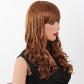 "22"" Virgin Remy Human Hair Full Net Cap Woman Long Curly Hair Wig with Bang Golden Brown"