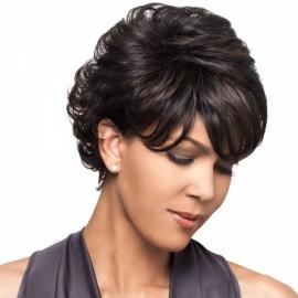 "8"" Virgin Remy Human Hair Full Net Cap Woman Short Curly Hair Wig with Bang Dark Marron"