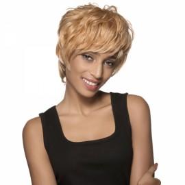 "5"" Virgin Remy Human Hair Full Net Cap Woman Short Curly Hair Wig with Bang Golden Yellow"