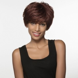 "5"" Virgin Remy Human Hair Full Net Cap Woman Short Curly Hair Wig with Bang Flax"
