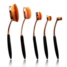 5pcs Nylon Bristle Oval Toothbrush Style Cosmetic Makeup Brush Set Black & Rose Golden