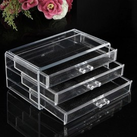 Clear Acrylic Drawer Cosmetic Makeup Storage Case Holder Organizer Transparent Size L 3-Layer 3-Drawer