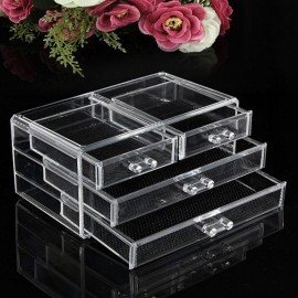 Clear Acrylic Drawer Cosmetic Makeup Storage Case Holder Organizer Transparent Size L 3-Layer 4-Drawer