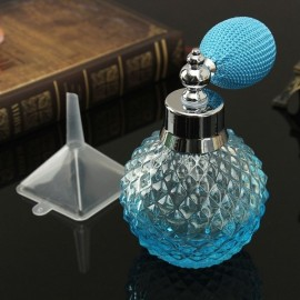 Vintage Refillable Glass Perfume Spray Empty Bottle Atomizer 100ml Blue