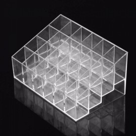 24-Compartment Lipstick Holder Display Stand Clear Acrylic Makeup Cosmetic Organizer Transparent
