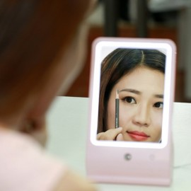 LED Makeup Mirror Nano Sprayer Facial Humidifier Woman Beauty Make Up Mirror Pink