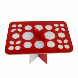 26 Holes Acrylic Makeup Brush Rack Eyeshadow Pen Brushes Dryer Organizer Holder Stand - Red & White